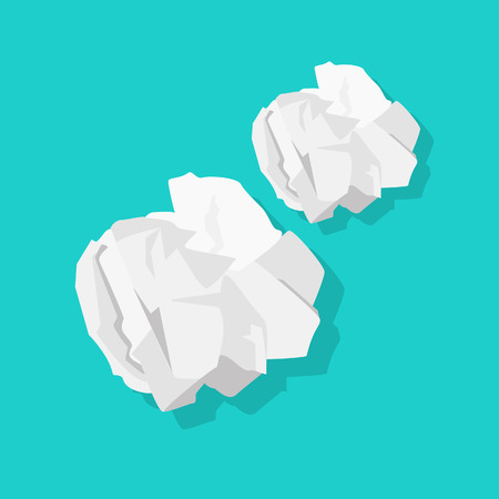 Crumpled paper ball vector illustration isolated on blue background Stock Illustratie