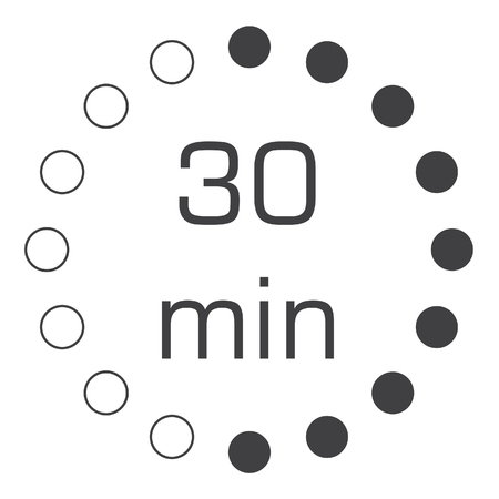 Electronic timer 30 min isolated on white background. Timer sign icon. 30 minutes symbol.   イラスト・ベクター素材