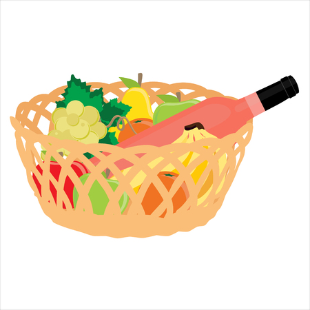 Vector illustration wicker basket with fruits banana, apple, pear, orange and pink, rose wine bottle isolated on white background. Fruit basket