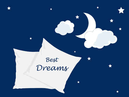Vector illustration  the best dreams ever, comfortable sleep. Soft cushion. Relaxation, sleeping concept. Night, clouds, stars background