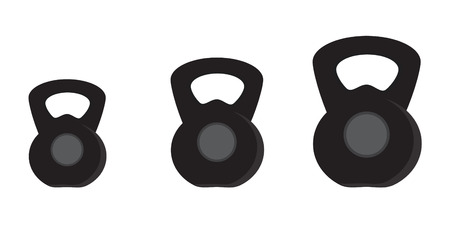 Vector illustration of black kettlebell set kg. Weight icon. Gym weights. Weight lifting.  Healthy concenpt