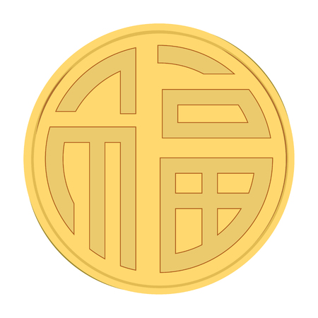 Vector illustration traditional chinese luck, lucky symbol, medallion. China golden coin