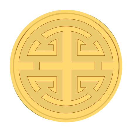 Vector illustration traditional chinese prosperity symbol. China golden coin