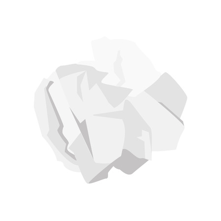 Crumpled paper ball vector illustration isolated on white background