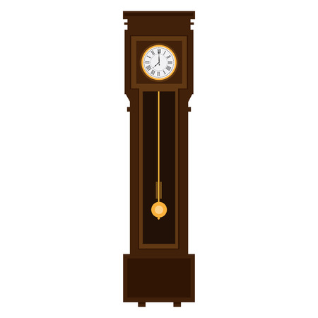 English antique tall long case clock known as grandfather clock for halls vector icon. Longcase vintage clock