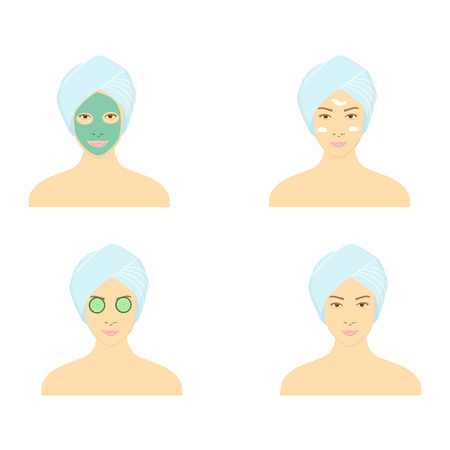 Vector illustration beautiful woman with facial mask of cucumber slices on face. Steps how to apply facial mask