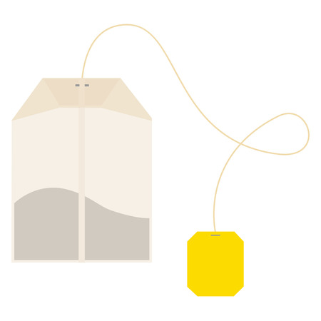 Teabag with yellow label. Top view. Isolated on a white.