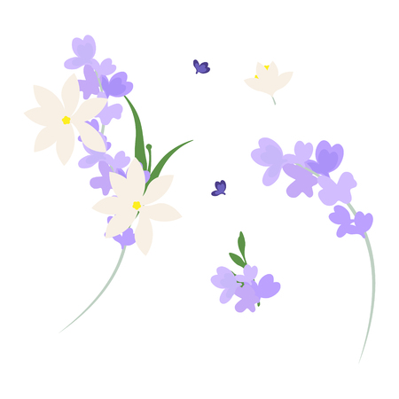 Festive flower composition on the white  background. Vector illustration Ilustrace