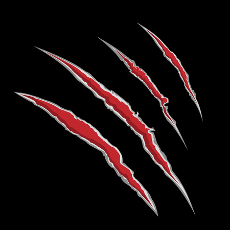Vector illustration claw scrathes.  Four vertical trace of monster claw, hand scratch, rip through, break through. Illustration