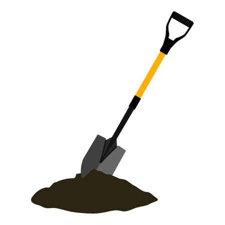 Shovel in the ground. Gardening tool on white background. Isolated shovel in heap of soil