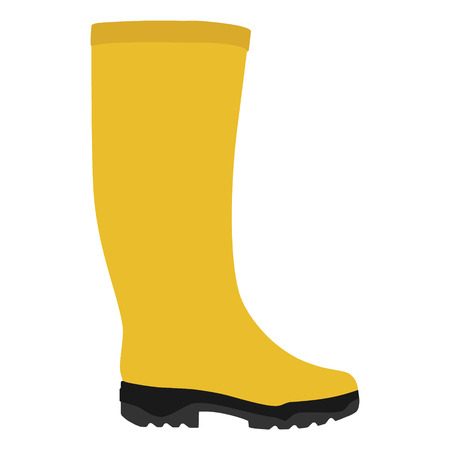 Raster illustration yellow rubber rain boots isolated on white background. Welilington boots