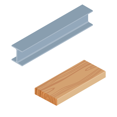 Raster illustration isometric 3d rasped wooden timber plank for building construction or floring. Construction steel beam for architectural works. Wood board