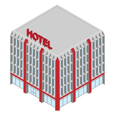Raster isometric icon hotel building. 3d city infrastucture 版權商用圖片