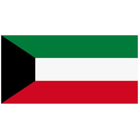 Raster illustration Kuwait flag icon isolated on white background. Rectangle national flag of Kuwait. Flag button