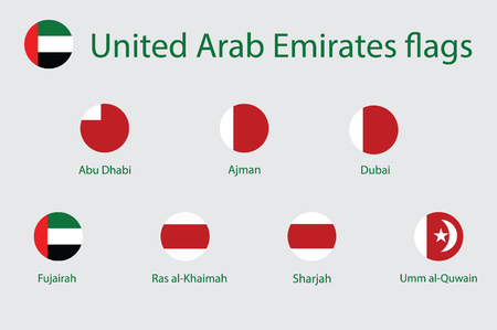 Raster icon round flags of United Arab Emirates. Dubai, Abu Dhabi, Sharjah , Al Ain, Ajman, Ras Al Khaimah, Fujairah and Umm al-Quwain