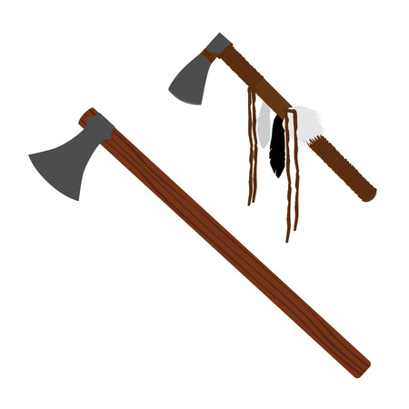 Raster illustration weapon set, collection tomohawk axe and battle axe with wooden handle