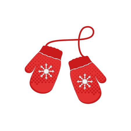 Raster illustration pair of knitted christmas mittens on white background. Mitten icon. Christmas greeting card with mittens