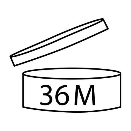 Raster illustration cosmetics symbol design. Period of validity after opening icon. Expiration date after product opening symbols. 36M