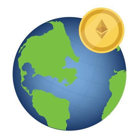 Raster illustration litecoin cryptocurrency symbol  around world, globe, earth. International money Stock Photo