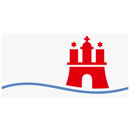 Raster flag of Hamburg city, Germany country