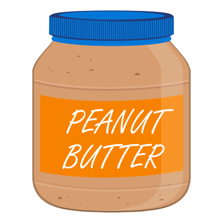 Jar of peanut butter on a white background raster illustration