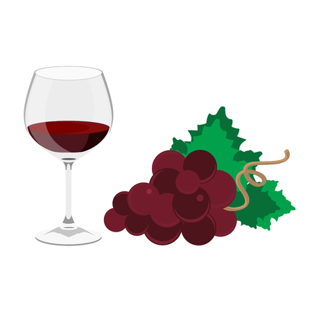 raster illustration transparent glass of wine and red grapes isolated on white Stok Fotoğraf