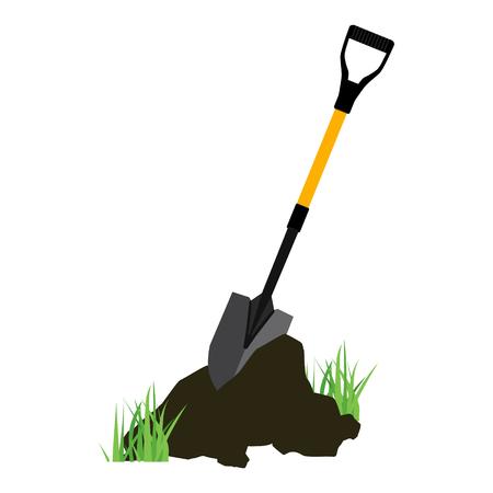 Shovel in the ground. Gardening tool on white background. Isolated shovel in heap of soil