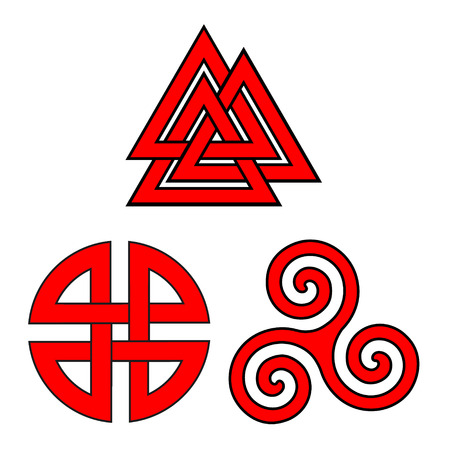 Raster symbol set valknut, shield knot and triskelion Stock Photo
