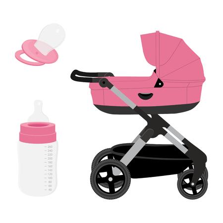 Raster ilustracja różowy wózek dziecięcy, wózek lub wózek dziecięcy, butelka do karmienia i smoczek. Zestaw ikon, kolekcja na białym tle