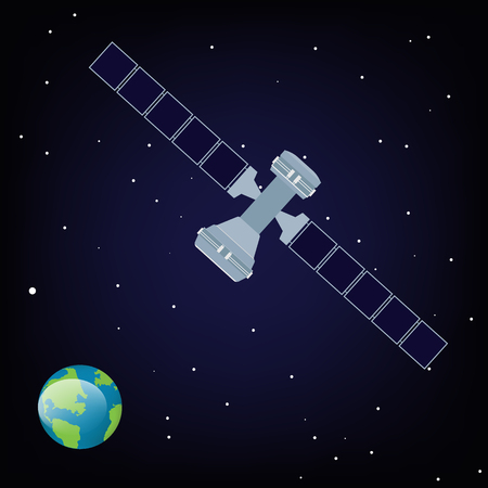 Raster illustration satellite is orbiting the Earth Banque d'images