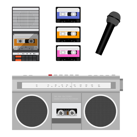 Retro outdated portable stereo boombox radio cassette recorder from 80s, compact audio cassettes and microphone
