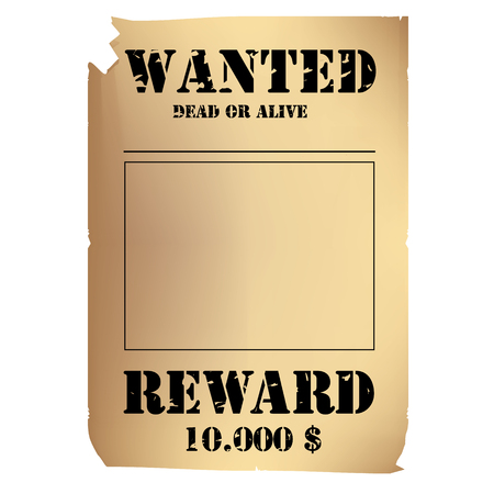 raster illustration vintage western wanted poster template. Wild West. Old wanted placard poster template, with dead or alive inscription, money cash reward as in western movies Stock Photo