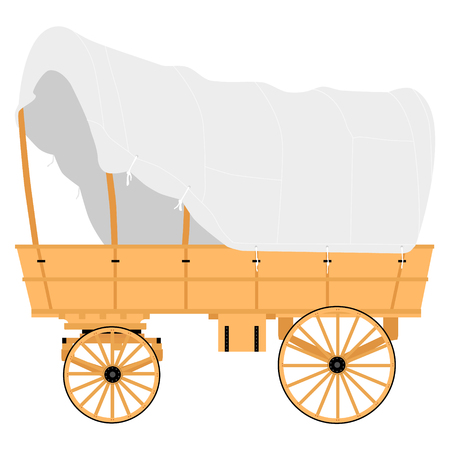 Raster illustration wagon wild west style