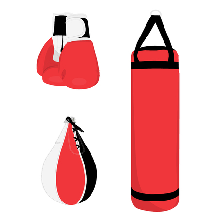 Boxing sport set, boxing gloves, punching bag and boxing bag