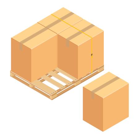 Boxes on wooden pallet. Warehouse cardboard parcel boxes stack wooden pallet isometric 3d raster illustration. Foto de archivo - 104931442