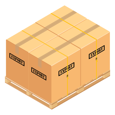 Boxes on wooden pallet. Warehouse cardboard parcel boxes stack wooden pallet isometric 3d raster illustration. Banque d'images - 104931603