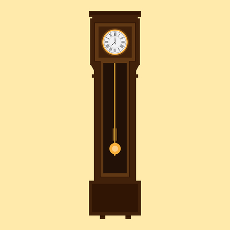 Old antique wall clock isolated on white. raster illustration Stock Photo
