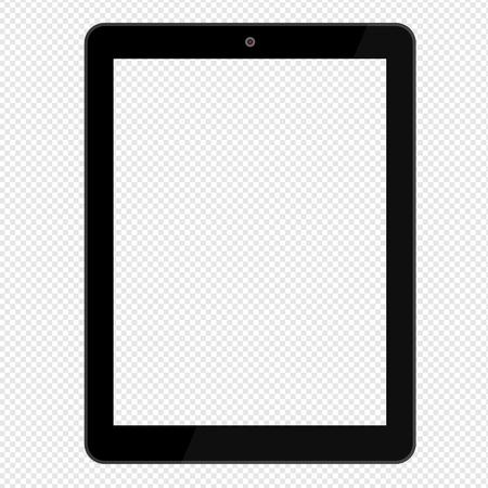 Schwarzer Tablet-Computer lokalisiert auf transparentem Hintergrund. Attrappe, Lehrmodell, Simulation