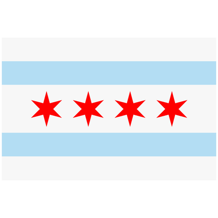 Raster icon Chicago flag. National Chicago flag background