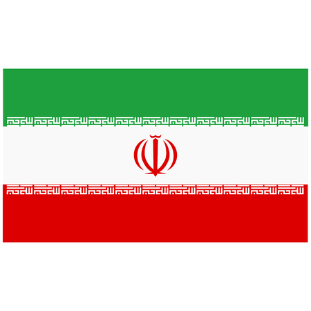 Raster illustration Iran flag icon isolated on white background. Rectangle national flag of Iran. Flag button