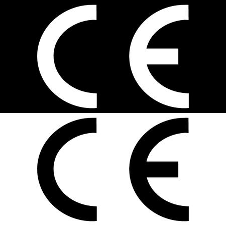CE mark symbol, sign. raster illustration
