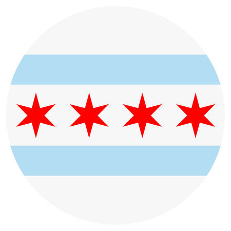 Raster icon Chicago flag. National round Chicago flag background