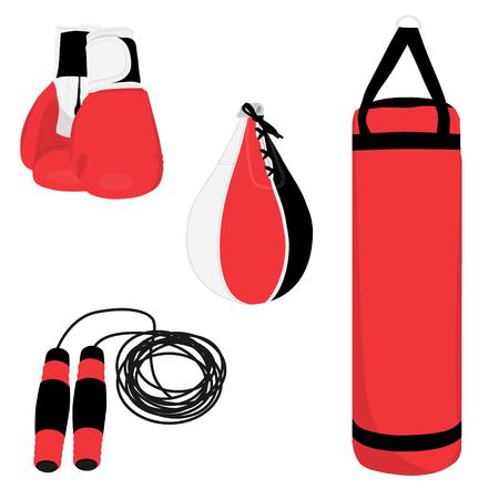 Boxing sport set, boxing gloves, punching bag and boxing bag, jumping rope