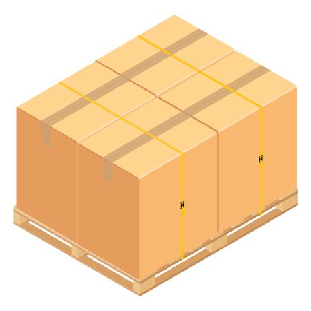Boxes on wooden pallet. Warehouse cardboard parcel boxes stack wooden pallet isometric 3d raster illustration. Banque d'images - 104932130