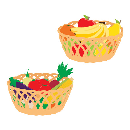 Raster illustration two wicker baskets with fruits and vegetables. icon isolated on white background. Fruit : banana, apple, pear, orange. Vegetable : tomato, eggplant, onion, garlic, carrot, golden corn and radish
