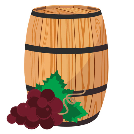 Raster illustration red grapes on wooden barrel with wine isolated on white Stock Photo