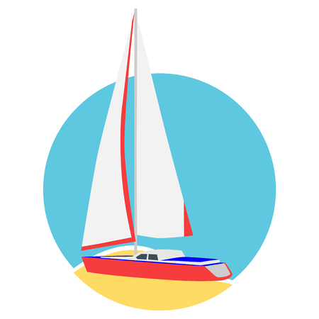 Sail boat yacht card. Luxury yacht logo, logotype design element Banque d'images