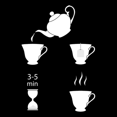 Tea brew instruction icons. Set of tea icons. Tea making instruction, guidelines. How to make tea. Package design element. Design element template. Raster illustration