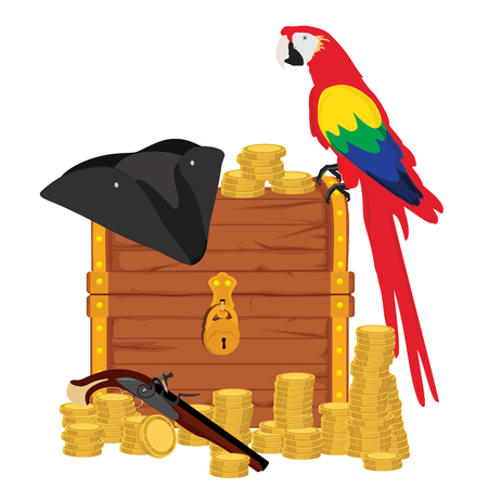 Vector illustration treasure chest with shinny gold, parrot, pirate hat and musket rifle isolated on white. Adventure
