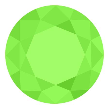Realistyczny zielony klejnot. Kolorowy kamień szlachetny. Zielony szmaragd na białym tle. Ilustracje wektorowe